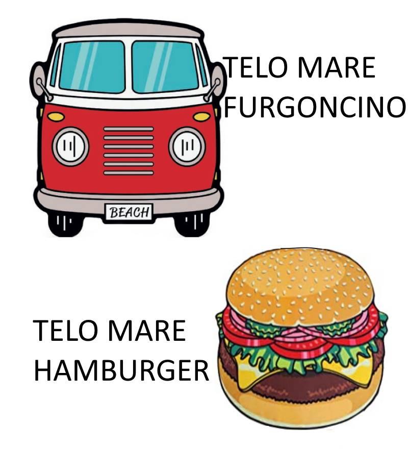 Telo Mare SAGOMATO salviettone asciugamano Microfibra Hamburger Furgoncino