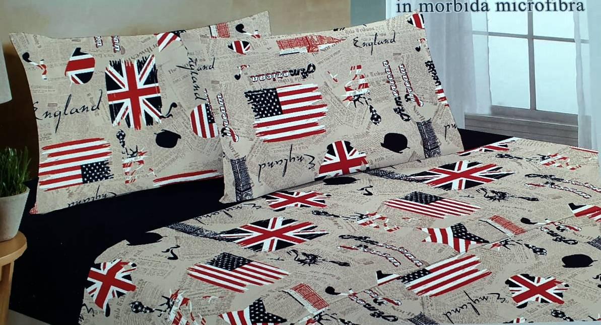 Completo lenzuola bandiere Usa Uk Inghilterra America una piazza SottoCosto