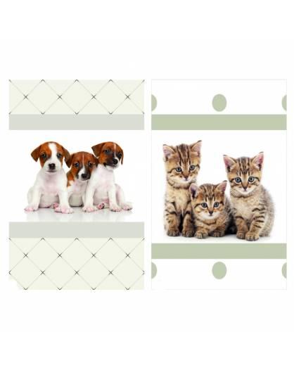 Trapunta invernale piazza e mezza con cuccioli cagnolini gattini Made in Italy