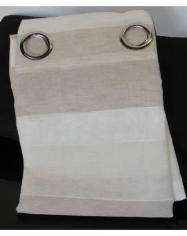 Tenda tendone rigato effetto LINO e anelli in metallo colore panna ecru