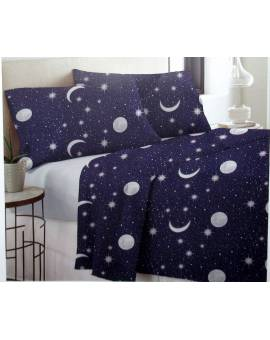 Completo Letto una Piazza e Mezza in cotone cielo stellato moon BLU notte
