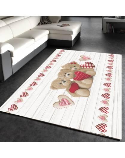 Tappeto camera cucina stampa digitale Made in Italy orsetti cuore cuori shabby