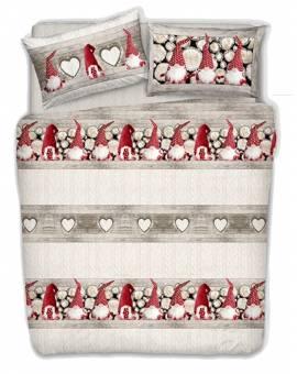 Copripiumino gnomi Natale invernale letto matrimoniale e singolo made in Italy