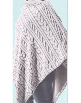 Coperta Poncho effetto Pelo in Morbidissima Microfibra Fantasia Unisex Maglia