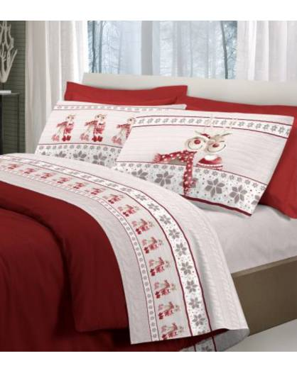 Completo letto caldo cotone Felpato Renne Natale Flanella Felpate made Italy