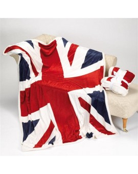 Coperta pile una piazza microfibra bandiere Inghilterra America tipo lana merinos