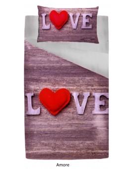 Parure sacco copripiumino letto 1 piazza e mezza lavanda cuori love patchwork