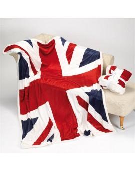 Plaid pile coperta microfibra bandiere USA UK inglese America tipo lana merinos
