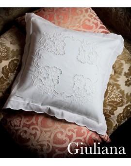 Federe copri cuscino ricamate A MANO e intagliate Made in Italy tessuto Lino