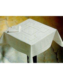 Tovaglia Centro tavolo RICAMO A MANO intaglio made in Italy COTONE FRANCESCA