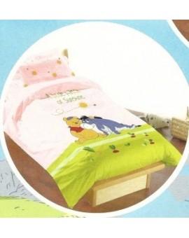 Completo lenzuola letto SINGOLO Disney Winnie the Pooh rosa stock casa offerta