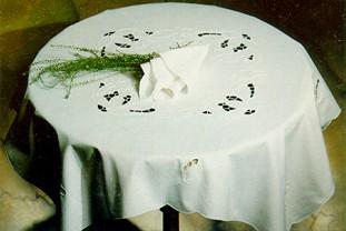 Tovaglia prima colazione RICAMATA A MANO made in Italy COTONE ODESSA