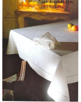 Tovaglia Ricamata A Mano Made In Italy Cotone Fiandra Con Gigliuccio