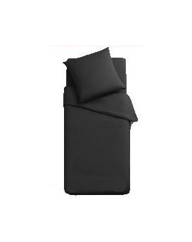 Completo lenzuola sexi letto 1 piazza singolo puro cotone federa con bottoni nero