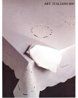 Tovaglia Ricamata A Mano Made In Italy Lino Italiano 800
