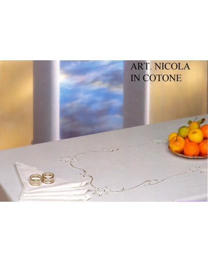 Tovaglia RICAMATA A MANO made in Italy COTONE NICOLA