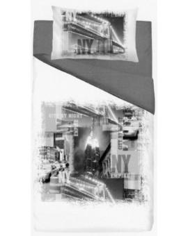 Copripiumino letto a una piazza con città di NY New York Empire in bianco e nero