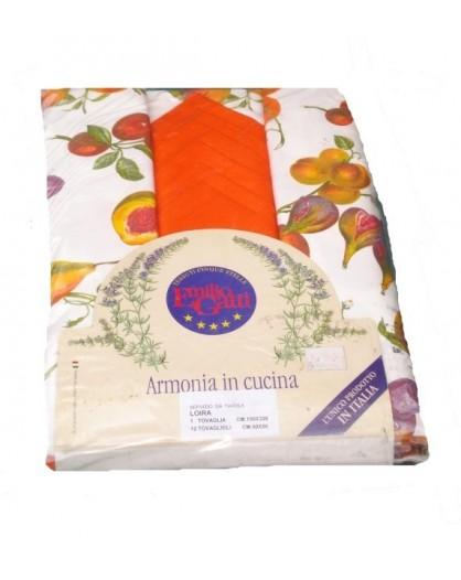 Tovaglia 150x320 frutta pranzo cena servizio 12 tovaglioli 100% cotone
