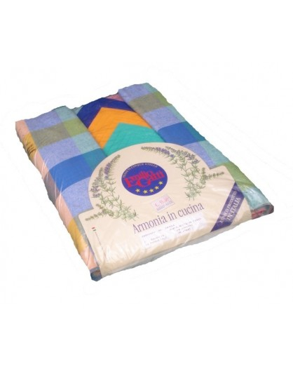 Tovaglia 140x450 blu verde servizio 24 tovaglioli 100% cotone cucina