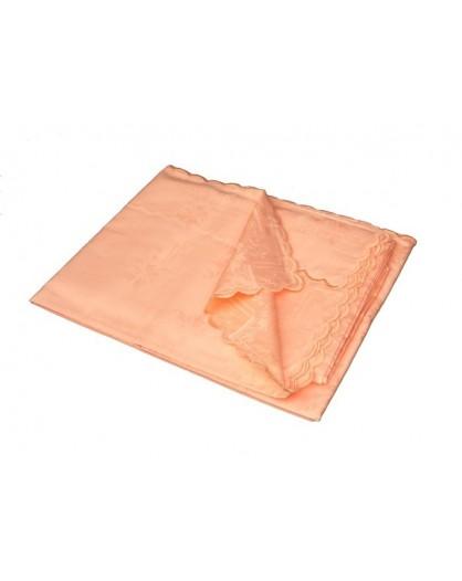 Tovaglia Color Salmone Rettangolare fiandra cotone orlo smerlato 8 tovaglioli