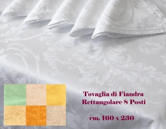 Tovaglia Fiandra Rettangolare 100% cotone orlo giorno 8 posti tinta unita
