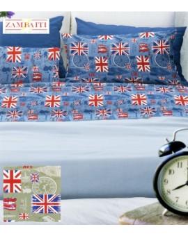 copripiumino sacco ZAMBAITI AFFARE bandiera UK England blu verde London 1 piazza