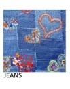 Copripuimino per letto matrimoniale sacco cotone fiori cuori jeans