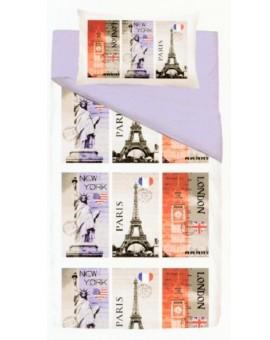 Sacco copripiumino letto singolo città NY liberta Paris Tour Eiffel Londra