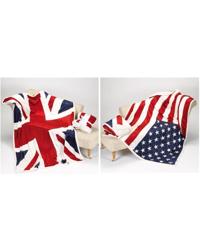 Piumone Singolo Bandiera Inglese.Coperta Con Stampato Le Bandiere Usa E Uk
