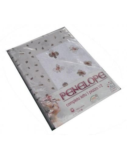 Completo lenzuola letto 1 piazza e mezza fiori rosa beige azzurro grigio cotone