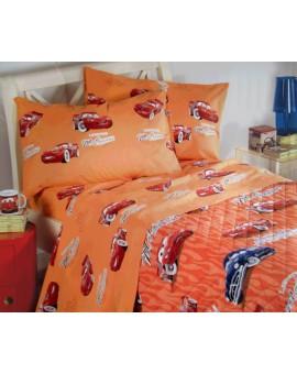 Completo Lenzuola CALEFFI Disney Cars Letto piazza e mezza Cotone Arancio