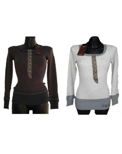 Maglione maglia donna Guru Girocollo Bottoni Lana Angora Cachemire a costine