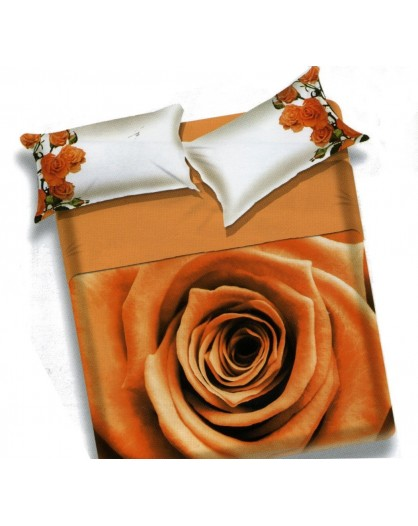 Completo letto lenzuola copriletto matrimoniale rose fiori arancio
