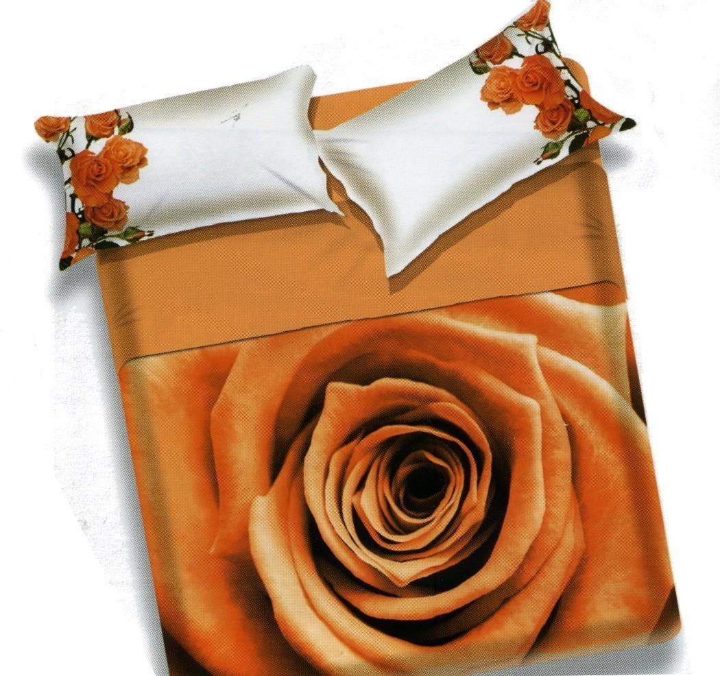 Completo lenzuola copriletto letto matrimoniale Rose arancio