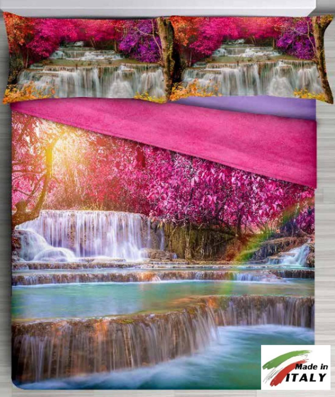 Parure Lenzuolo Copriletto Stampa Digitale Cascata Made In Italy