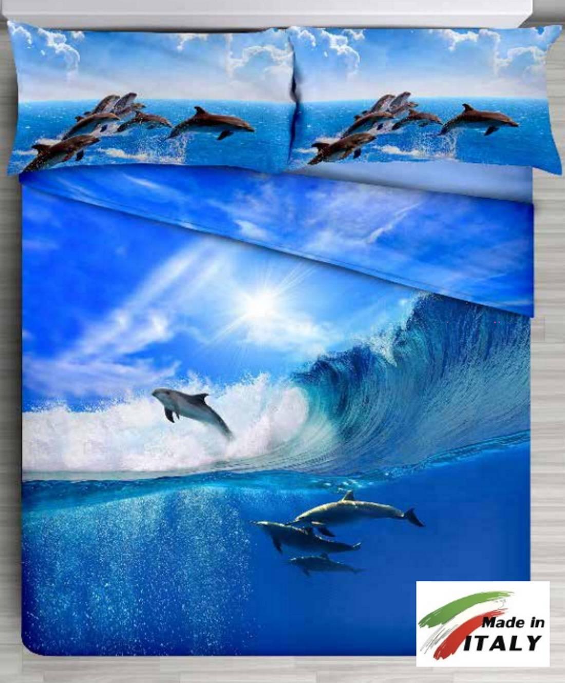Lenzuolo Copriletto Stampa Digitale Delfini 3d Made In Italy