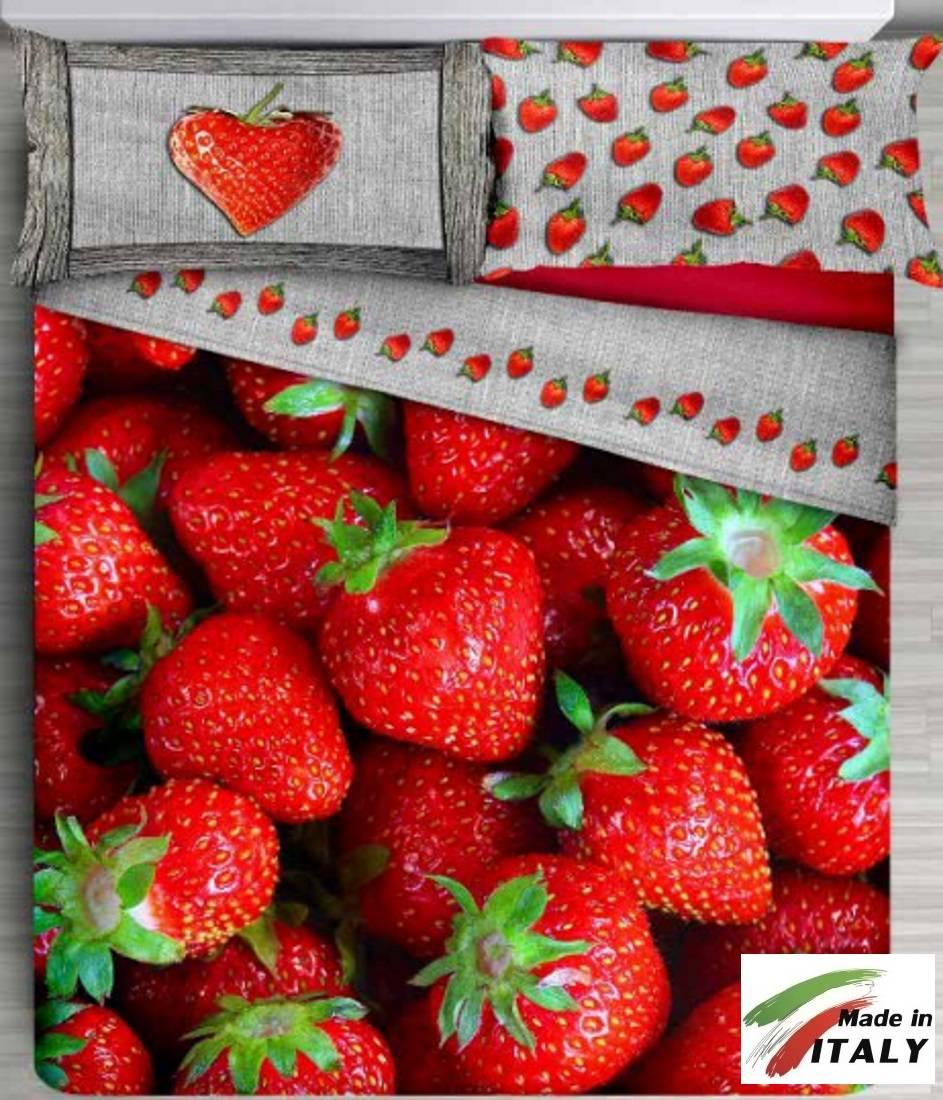 Lenzuolo Copriletto Estivo Rosso Fragole Stampa Digitale Made In Italy