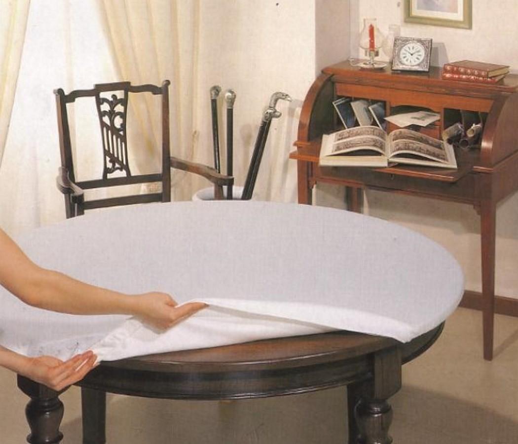 Mollettone Tavolo Rotondo Cm 140 Bianco Con Elastico Salvatavolo Made