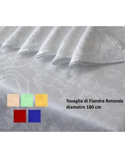 Tovaglia Rotonda Tinta Unita cotone orlo smerlato 8 tovaglioli cena evento