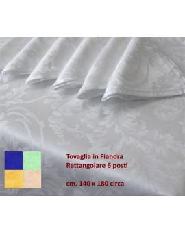 Tovaglia Rettangolare 6 Posti 140x180 Fiandra Cotone Tovaglioli Tinta