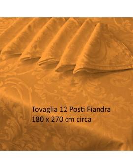 Tovaglia Fiandra 12 Posti Tinta Unita Cotone Orlo A Giorno Arancio