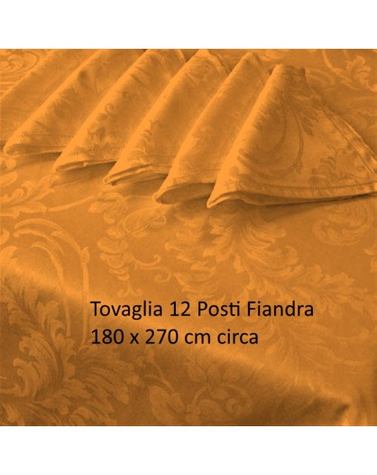 Tovaglia Fiandra Rettangolare 12 posti tinta unita cotone orlo a giorno