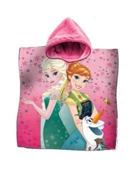 Accappatoio Poncho telo mare bambina DISNEY FROZEN Elsa Anna rosa spugna