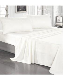 Completo lenzuola RASO cotone 100% Bianco letto Matrimoniale