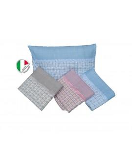 Completo Lenzuola Letto Piazza 12 Cotone 100 Flanella Made In Italy Fe
