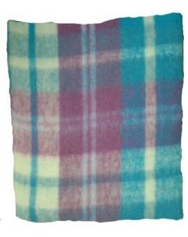 Plaid Coperta Lana MOHAIR letto singolo scozzese viola verde panna