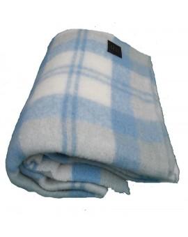 Plaid Coperta Lana MOHAIR singola scozzese azzurra