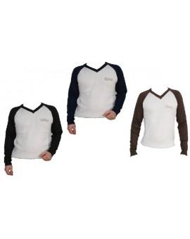 Maglione abbigliamento uomo Guru cachemire lana ricamato bicolore collo a V STOK