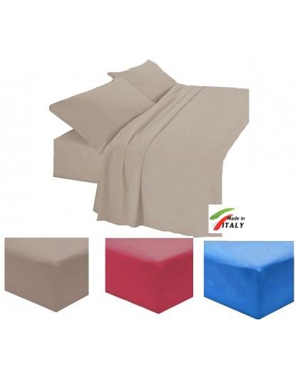 Lenzuola con Angoli Tinta Unita letto FRANCESE cotone 100% con elastico