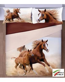 Lenzuola effetto 3D stampa Cavallo Horse Parure Copriletto Made in Italy